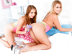 Sweet lesbians Zoey and Chastity gear and... lesbian xxx