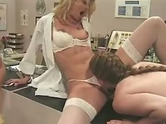 Lesbo nurses relax on table after work in... lesbian xxx