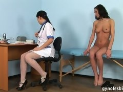 Nude lesbian body exam and metal speculum... lesbian xxx