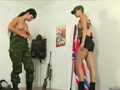 War-painted army girl does naked drills lesbian xxx