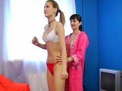 Two sporty girls getting naked for training lesbian xxx