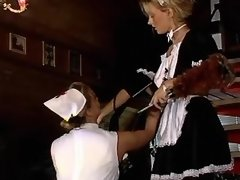 Lustful lesbo maid and nurse have fun on... lesbian xxx